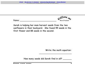 Word Problems #11 Worksheet
