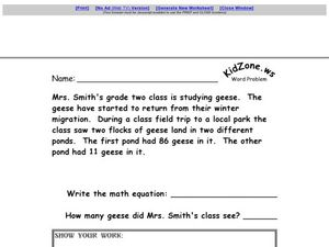 Word Problems #27 Worksheet