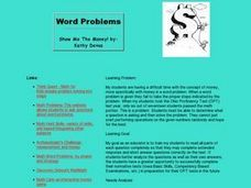 Word Problems -- Show Me The Money! Lesson Plan