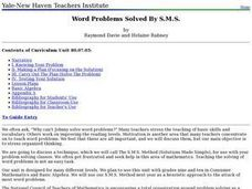 Word Problems Solved By S.M.S. Lesson Plan