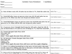 Word Problems: Taxes Worksheet