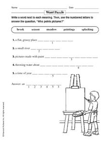 "Word Puzzle ""Who Paints Pictures?"" Worksheet"