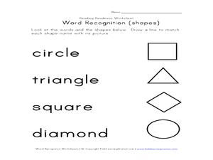 word recognition shapes pre k 2nd grade worksheet lesson planet. Black Bedroom Furniture Sets. Home Design Ideas
