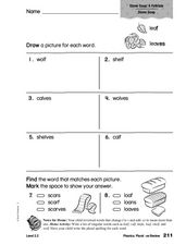 Word Recognition: Singular and Plurals -f and -ves Worksheet