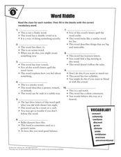 Word Riddle Lesson 5 Worksheet