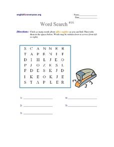 Word Search #16 Worksheet