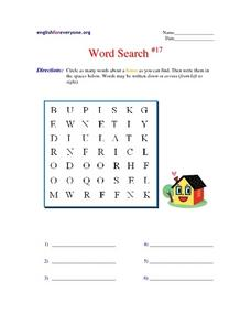 Word Search #17 Worksheet