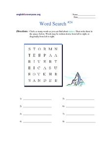 Word Search #24:  Nature Worksheet