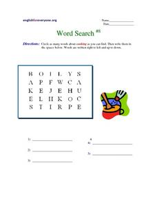 Word Search #8-  Cooking Worksheet