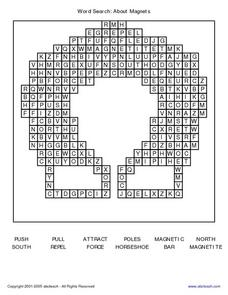 Word Search: About Magnets Worksheet