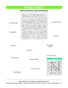 Word Search:  African Reptiles and Amphibians Lesson Plan