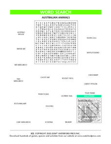 Word Search:  Australian Animals Lesson Plan