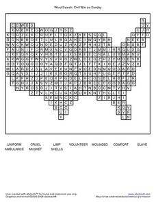Word Search: Civil War on Sunday Worksheet