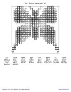 "Word Search Double Vowel ""ea"" Worksheet"