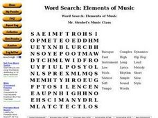 Word Search: Elements of Music Worksheet