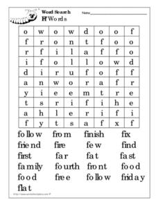 Word Search: Ff Words Worksheet