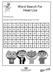 Word Search For Head Lice Worksheet