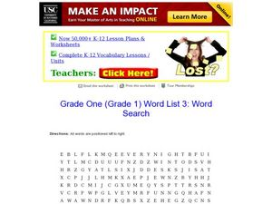 Word Search: Grade One 3 Worksheet
