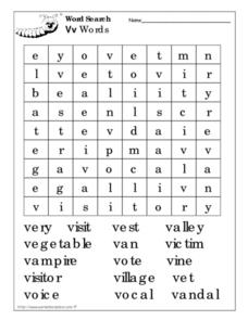 Word Search: Letter V Words Worksheet