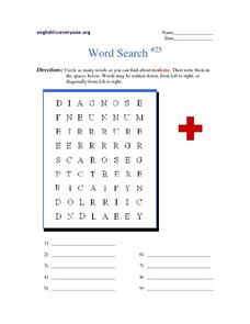 Word Search- Medicine Worksheet