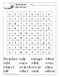 Word Search: O Words Worksheet