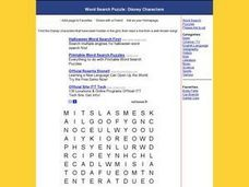 Word Search Puzzle:  Disney Characters Worksheet