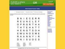 Word Search Puzzle:  Family Worksheet