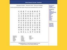 Word Search Puzzle:  Furniture Worksheet