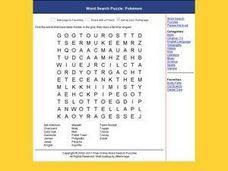 Word Search Puzzle: Pokemon Worksheet