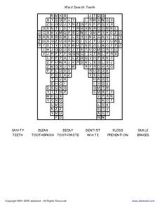 Word Search:  Teeth Worksheet