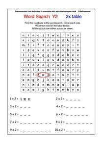 Word Search Y2  2x Table Worksheet