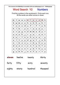 Word Search Y2   Numbers Worksheet