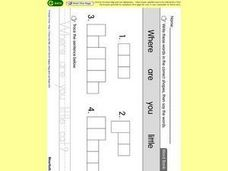 Word Shape Puzzles: Where Are You, Little Cat? Worksheet