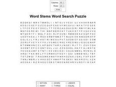 Word Stems Word Search Puzzle Worksheet