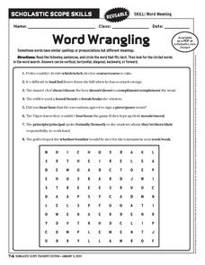 Word Wrangling Worksheet