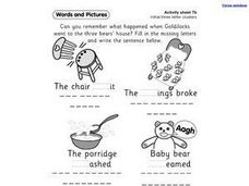 Words and Pictures - Initial Three Letter Clusters Worksheet