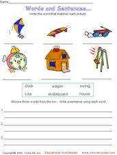 Words and Sentences Worksheet