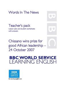 Words In The News--Chissano Wins Prize For Good African Leadership Lesson Plan