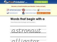 Words that Begin with A Worksheet