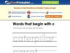 Words That Begin With c 2 Worksheet