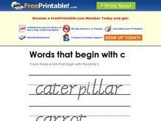 "Words that Begin with ""C"" Worksheet"