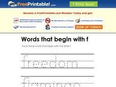 Words that Begin with F Worksheet