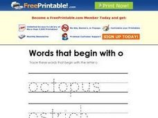 Words That Begin with O Worksheet