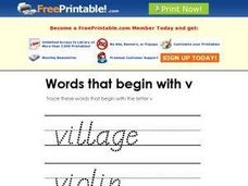 Words That Begin with V Worksheet