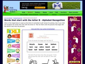 Words That Start With the Letter B- Alphabet Recognition Worksheet