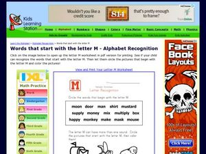 Words that start with the letter M - Alphabet Recognition Worksheet