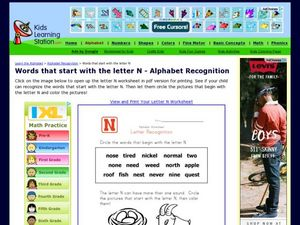 Words That Start with the Letter N - Alphabet Recognition Worksheet
