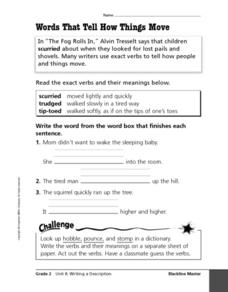 Words That Tell How Things Move Worksheet