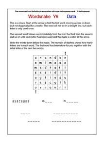 wordsnake- Word Puzzle- Data Worksheet
