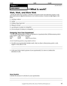 Work and More Work Worksheet